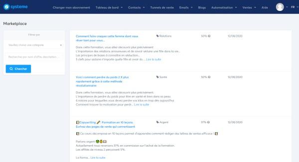 La marketplace de systeme.io